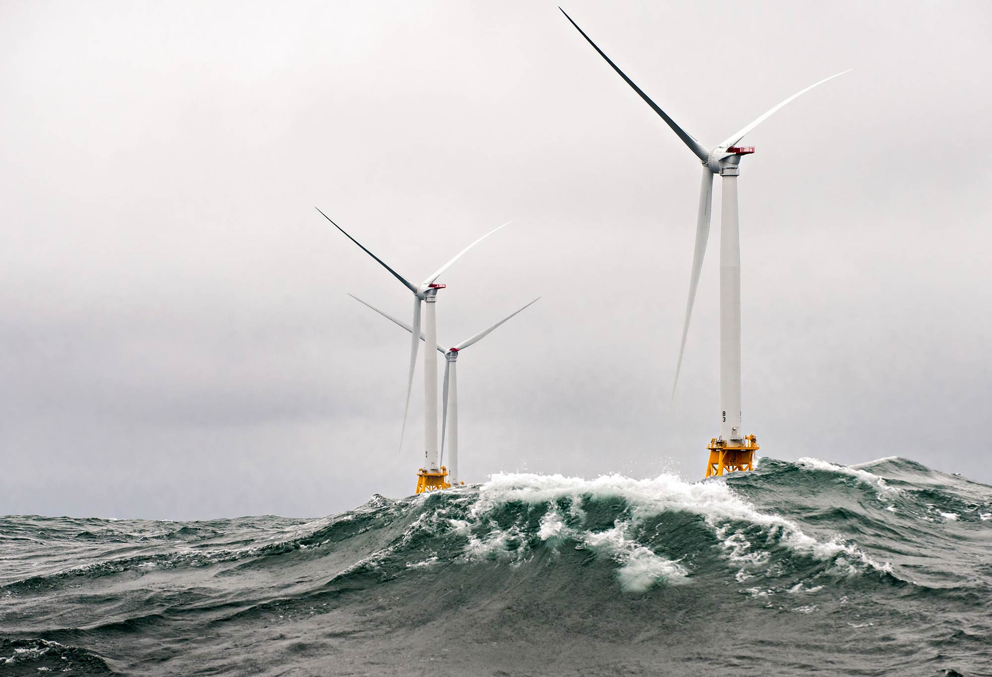 Three wind turbines at the first US offshore wind farm.